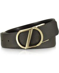 Ermenegildo Zegna - Dark Brown Leather Reversible & Adjustable Belt W/gold-tone Signature Buckle - Lyst