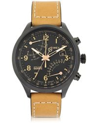 Timex - Fly Back Chrono Black Stainless Steel Case And Tan Leather Strap Men's Watch - Lyst