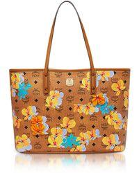 MCM - Essential Top Zip Shopper In Floral Print Visetos - Lyst