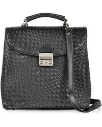 FORZIERI - Black Woven Leather Vertical Messenger - Lyst