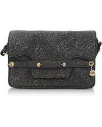 RED Valentino - Gunmetal Crackled Metallic Leather Flap Top Crossbody Bag - Lyst
