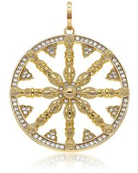 Thomas Sabo - Yellow Gold Plated Sterling Silver Round Pendant W/white Cubic Zirconia - Lyst