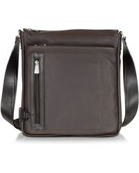 Chiarugi - Dark Brown Leather Vertical Crossbody Bag - Lyst