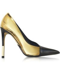 Balmain - Agnes Gold Laminated Leather Pump - Lyst