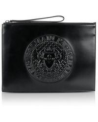 Balmain - Black Shiny Leather Mini Men's Pouch W/embossed Logo - Lyst