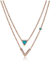 Fossil - Turquoise Double Strand Convertible Women's Necklace - Lyst