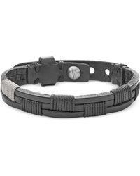 Fossil - Vintage Casual Black Leather Bracelet - Lyst