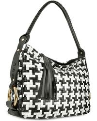 Fontanelli - Black And White Houndstooth Woven Leather Tote Bag - Lyst