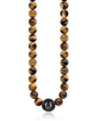 Thomas Sabo - Power Necklace Yellow Tiger Eye Beads and Sterling Silver Men's Necklace - Lyst