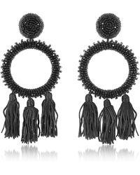 Oscar de la Renta - Large Beaded Circle With Tassel C Earring - Lyst