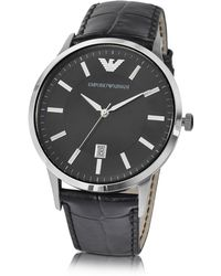 Emporio Armani - Men's Black Dial Stainless Steel Date Watch - Lyst