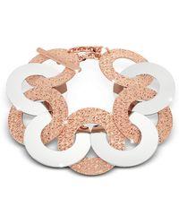 Rebecca - R-zero Rose Gold Over Bronze And Steel Maxi Chain Bracelet - Lyst