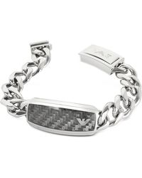 Emporio Armani - Large Signature Stainless Steel Men's Bracelet - Lyst