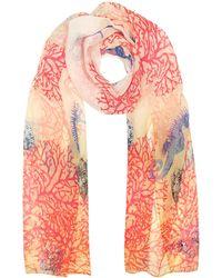 Mila Schon - Ivory Coral Reef Printed Chiffon Silk Stole - Lyst