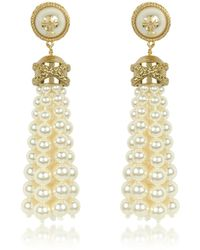 Tory Burch - Tory Gold Brass And Resin Beaded Tassel Drop Earrings - Lyst