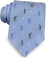Marina D'este - Golf Player Light Blue Woven Silk Men's Tie - Lyst