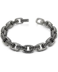Zoppini - Zo-chain Stainless Steel And Black Enamel Link Bracelet - Lyst