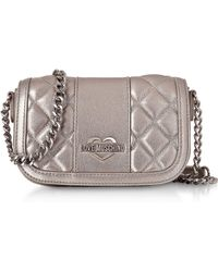 Love Moschino - Metallic Quilted Eco Leather Mini Shoulder Bag - Lyst
