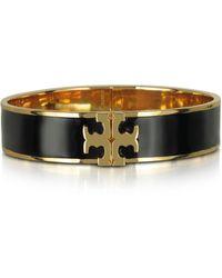 Tory Burch - Raised Logo Black Enamel Thin Cuff Bracelet - Lyst