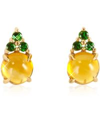 Mia & Beverly - Citrine Quartz And Green Sapphires 18k Rose Gold Earrings - Lyst