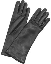 FORZIERI - Women's Cashmere Lined Black Italian Leather Long Gloves - Lyst