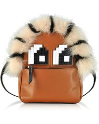Les Petits Joueurs - Brown Leather And Fur Baby Mick Napoleon Backpack - Lyst