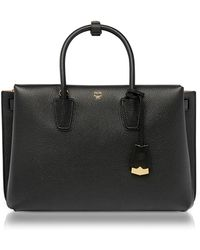 MCM - Milla Black Leather Large Tote Bag - Lyst