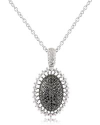 Azhar - Black Cubic Zirconia And Sterling Silver Oval Pendant Necklace - Lyst