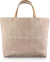 A.P.C. - Denim And Leather Ingride Tote Bag - Lyst