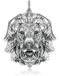 Thomas Sabo - 925 Sterling Silver Lion Pendant w/Black Zirconia - Lyst