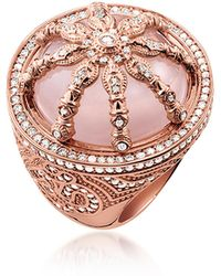 Thomas Sabo | 18k Rose Gold Plated Sterling Silver Ring W/white Zirconia And Rose Quartz | Lyst