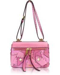 Moschino - Pink Leather Shoulder Bag W/golden Studs - Lyst