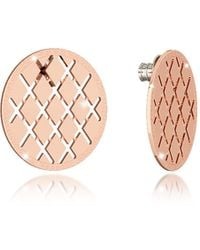 Rebecca - Melrose Rose Gold Over Bronze Stud Earring - Lyst