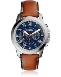 Fossil - Grant Chronograph Light Brown Leather And Blue Dial Men's Watch - Lyst