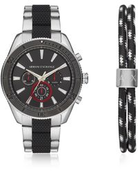 Emporio Armani - Enzo Silver Toned And Black Men's Chronograph Watch Set - Lyst