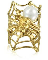 Bernard Delettrez - Web And Spyder Bronze Ring W/pearl - Lyst