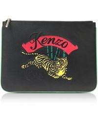 KENZO - Jumping Tiger Flat Clutch - Lyst