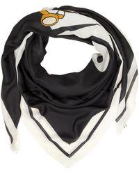 Moschino | Black Signature Printed Modal Fringed Wrap | Lyst