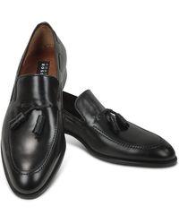 Fratelli Rossetti Black Calf Leather Tassel Loafer Shoes