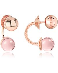 Rebecca - Boulevard Stone Rose Gold Over Bronze Double Ball Drop Earrings W/pink Hydrothermal Stone - Lyst