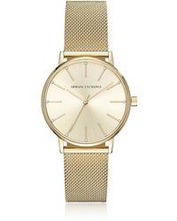 Armani Exchange - Lola Gold Tone Mesh Women's Watch - Lyst