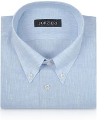 FORZIERI - Light Blue Linen Dress Shirt - Lyst