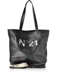 725cbf4cde Lyst - N°21 Red   Black Animal Print Nylon And Leather Big Foldable ...