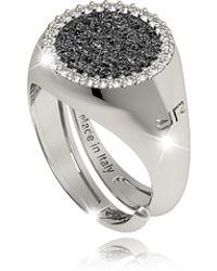 Rebecca - R-zero Rhodium Over Bronze Ring W/stones - Lyst