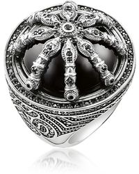 Thomas Sabo - Blackened Sterling Silver Ring W/black Zirconia And Onyx - Lyst