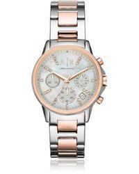 Armani Exchange - Ax4331 Women's Chronograph Two Tone Bracelet Strap Watch - Lyst
