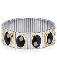 Nomination - Four Black Cubic Zirconia Stainless Steel W/golden Studs Women's Bracelet - Lyst