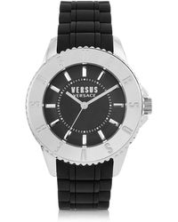 Versus - Tokyo Silver Tone Stainless Steel And Black Rubber Men's Watch - Lyst
