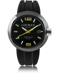 LOCMAN - One Black Pvd Stainless Steel Chronograph Men's Watch W/leather And Silicone Band Set - Lyst