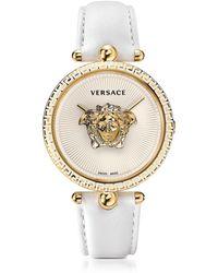 Versace - Palazzo Empire Reloj Unisex Blanco de Acero Inoxidable con Correa de Cuero y Medusa Dorada - Lyst